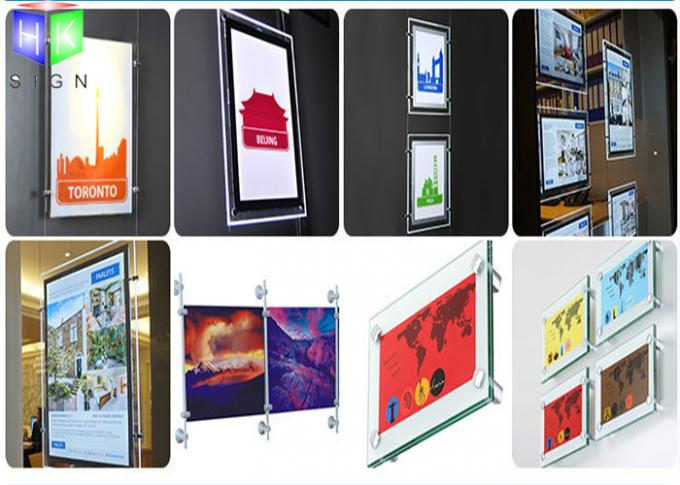 Ultra Slim Poster Frame Light Box Acrylic LED Window Displays For Estate Agents
