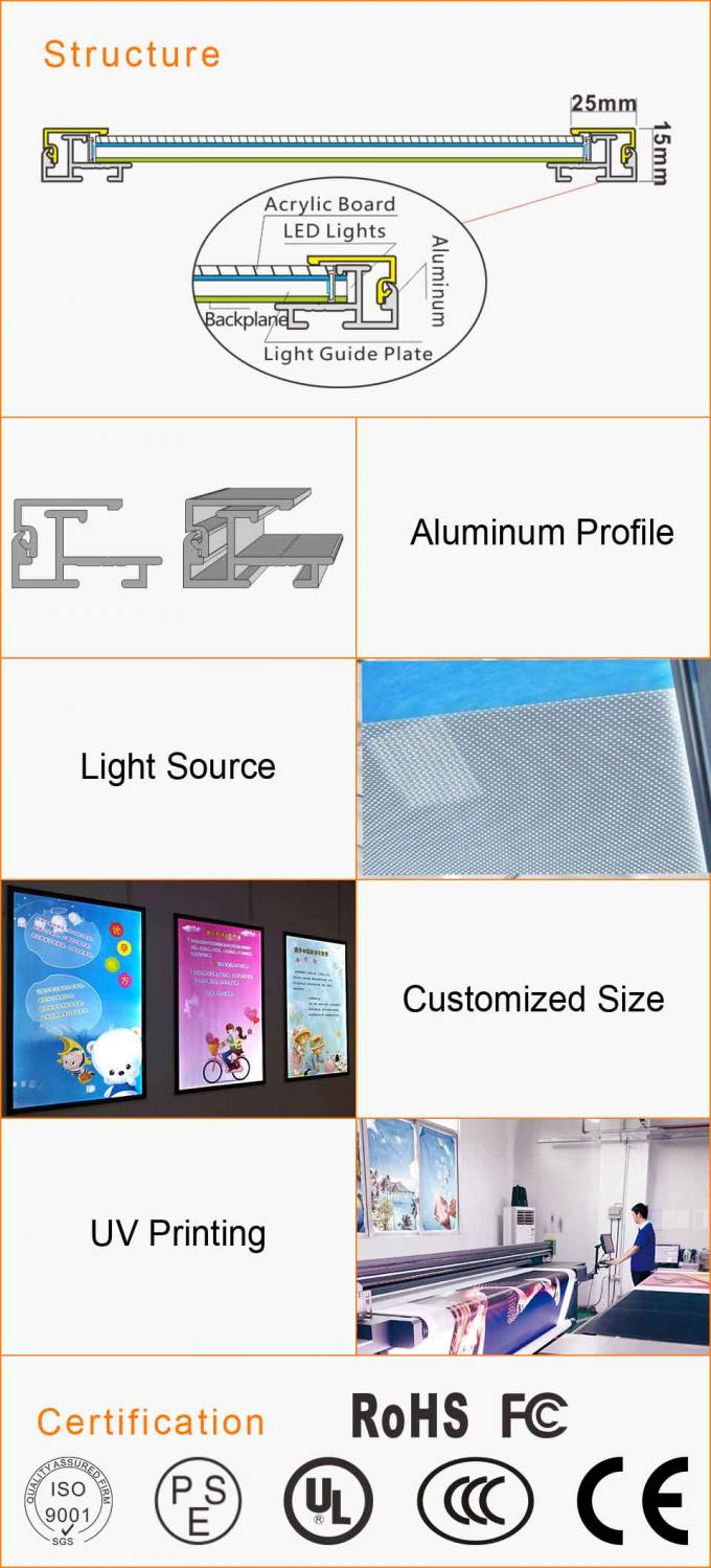 Slim Aluminum Snap Frame Led Light Box Movie Poster Advertising Backlit Sign Applied