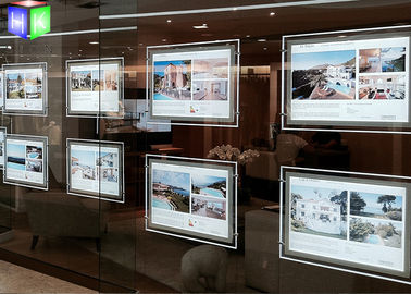 China Ultra Slim Poster Frame Light Box Acrylic LED Window Displays For Estate Agents supplier