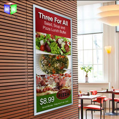 China Silver Acrylic Snap Frame Led Light Box With Menu Display , Restaurant Advertising supplier