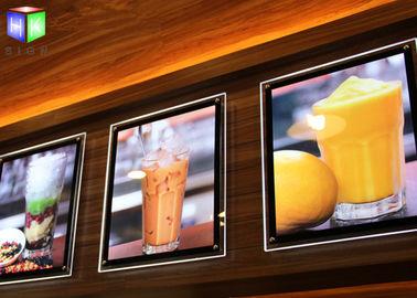 Fast Food A2 Slim LED Illuminated Menu Boards Crystal Lightbox Wall Mounted