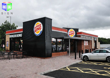 Floor Standing Outdoor Lighted Signs For Business Silk Screen Burger King