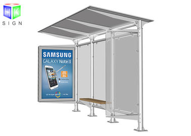 Bus Stop Shelter Advertising Scrolling Light Boxes Aluminum Frame 30 Watt